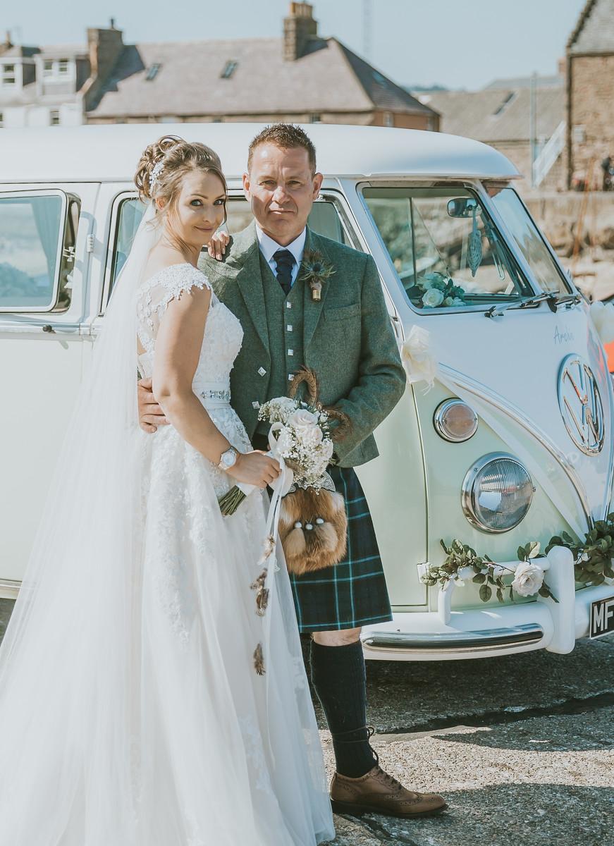 bride and groom wedding campervan Deeside Classic Campers