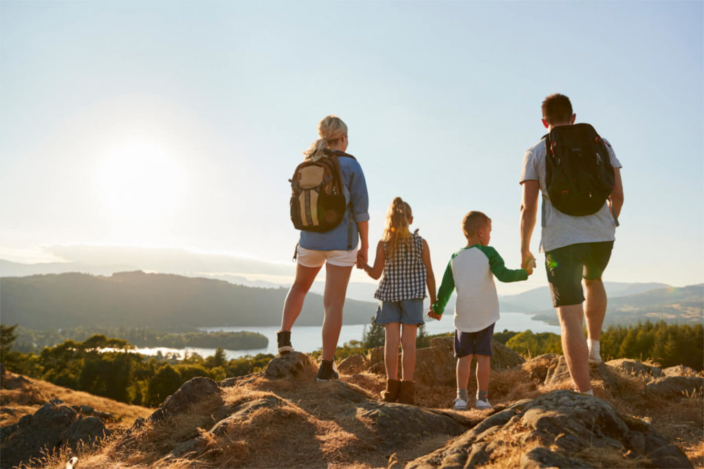 Family campervan hire holiday mountain walking