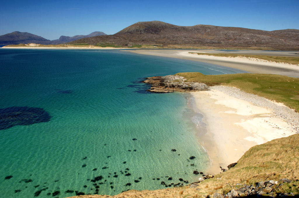 camping on Harris Beach with Deeside Classic Campers campervan hire Scotland Deeside Classic Campers