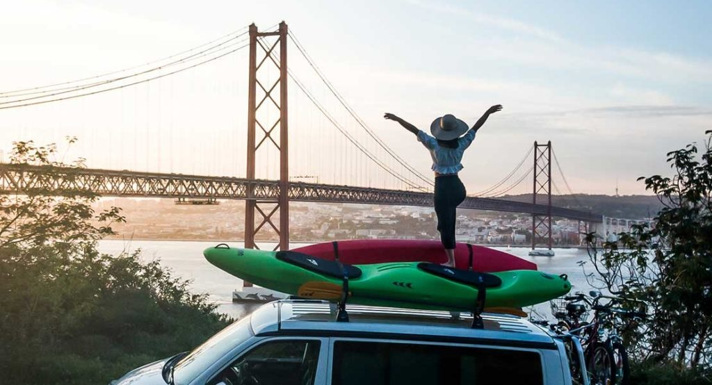 Forth Road bridge Edinburgh Kayak on roof of Harris VW of VW T6 campervan hire, Scotland