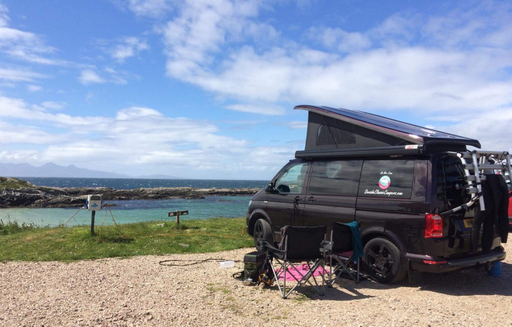 sea view from a campervan hire in Scotland