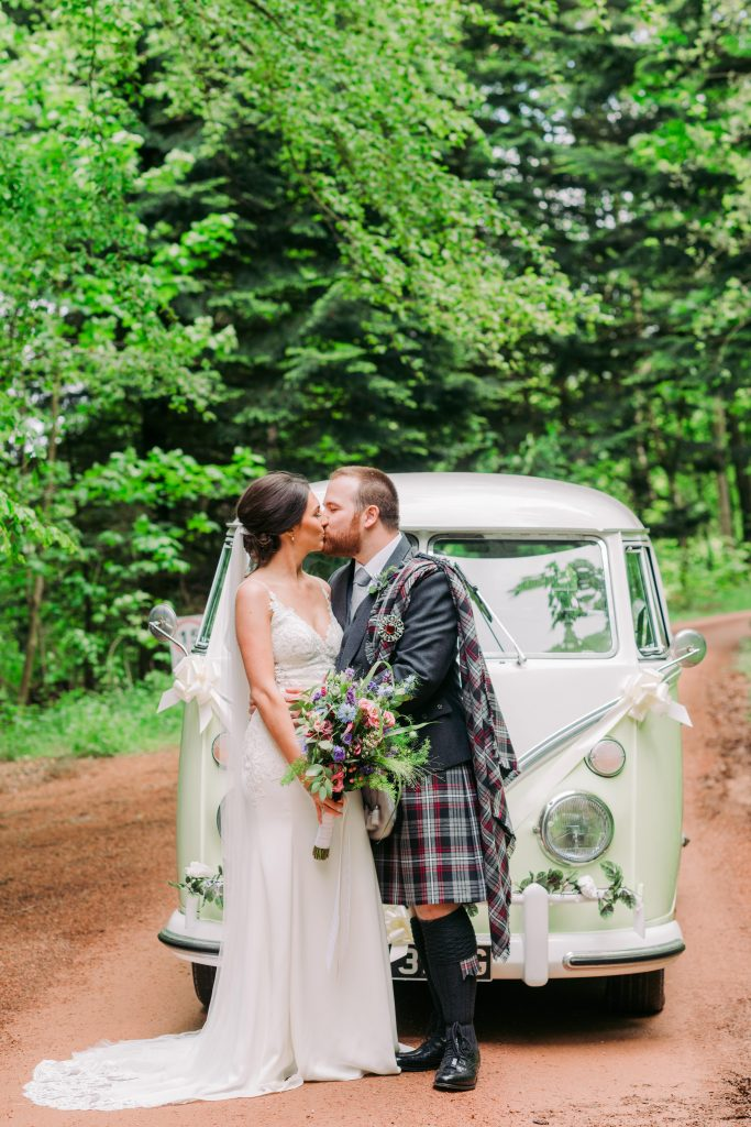 VW Wedding campervan hire Aberdeenshire Bridal transport camper