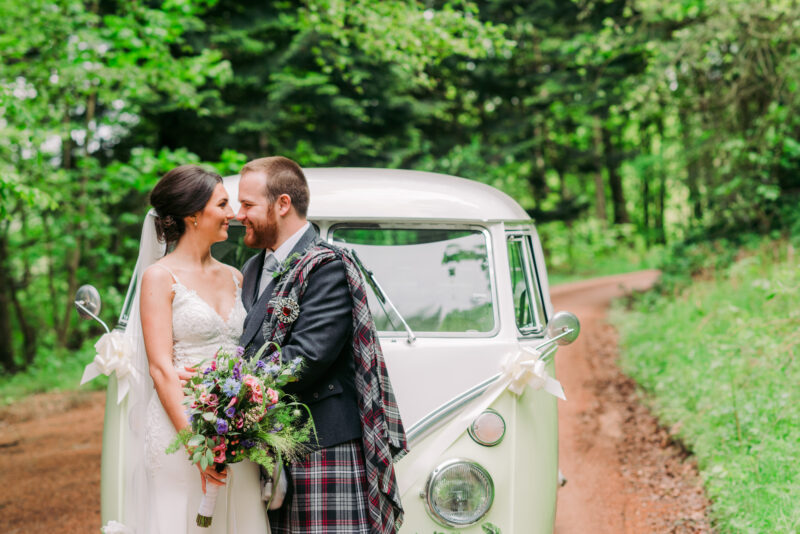 bride and groom Ballogie House Wedding Campervan, Aberdeenshire