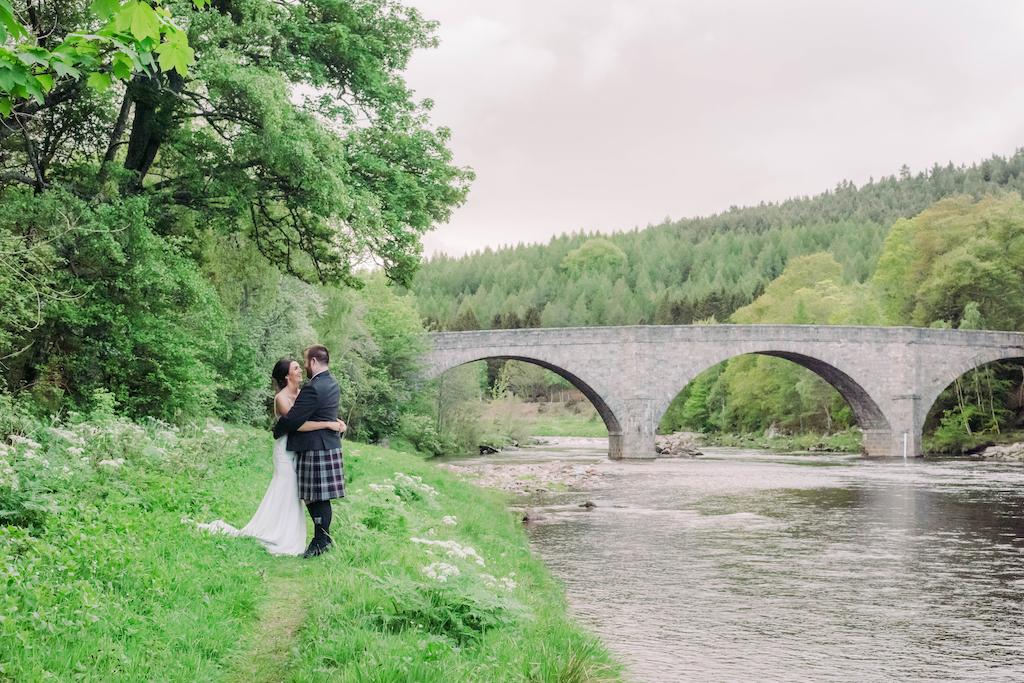 River Dee Potarch Bridge Bride and Groom VW Wedding campervan hire Scotland