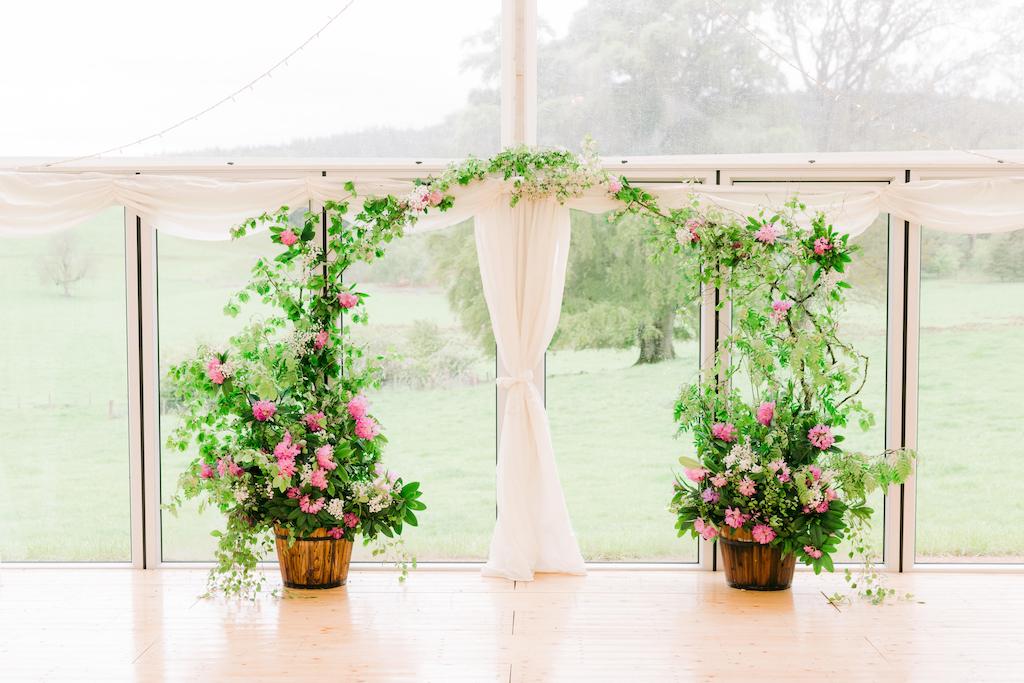 Flower wedding arch Deeside Classic Campers wedding campervan hire Aberdeenshire