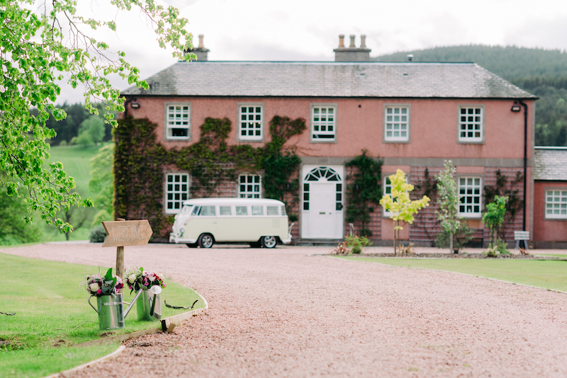 Wedding campervan Archie VW at Ballogie House Deeside Classic Campers